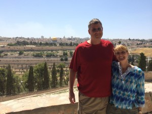 One of the best views available overlooking the Temple Mount, the Kidron Valley, the Eastern Gate, and the City of Jerusalem. Andy and his wife, Anne.
