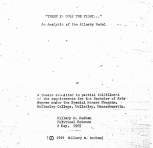 Cover Page of Hillary Rodham's Thesis